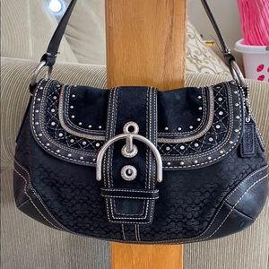 💕Coach black silver large fabric suede hobo bag💕